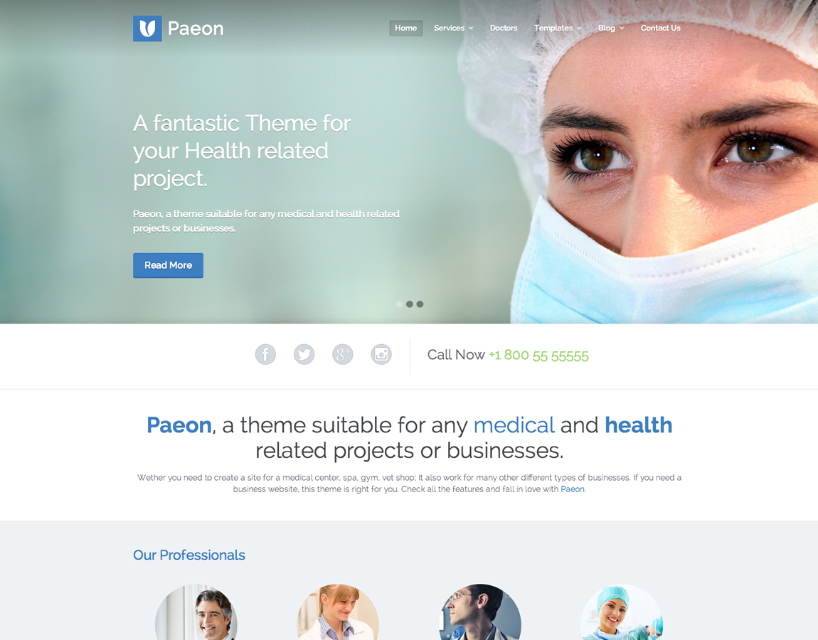 Paeon responsive Medical WordPress Theme.